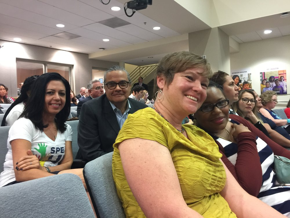 Speak UP's Daphne Radfar and parents Michael Jimenez, Anna Parks and Tanisha Hall testified at Tuesday's meeting