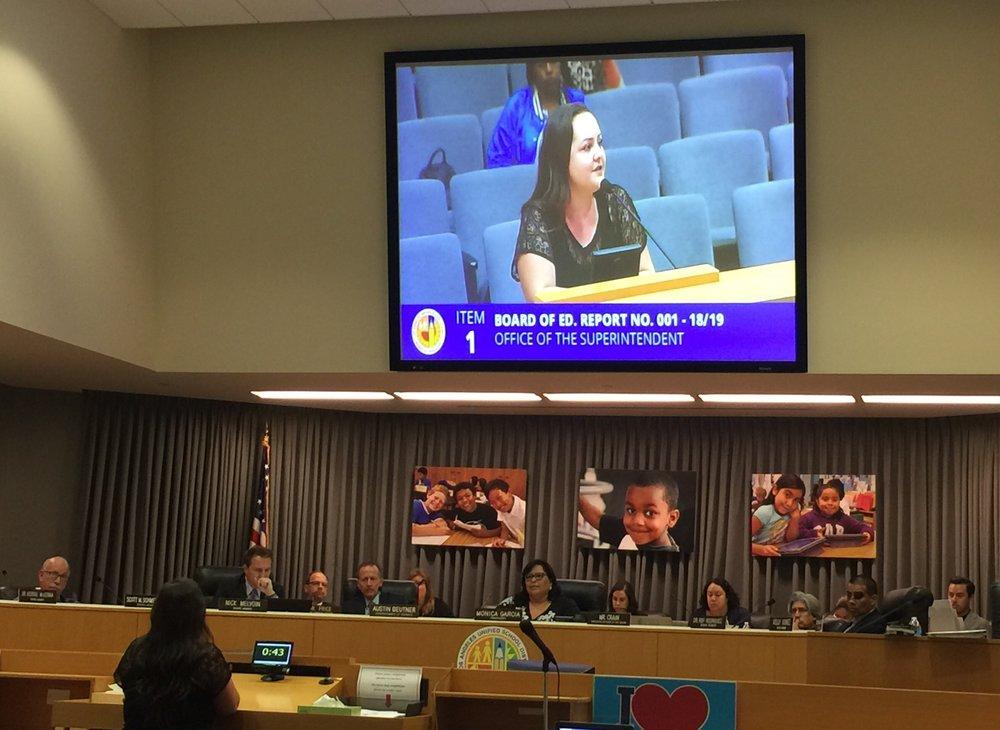 Parent Roxann Nazario asks LAUSD to stop dividing district and charter parents