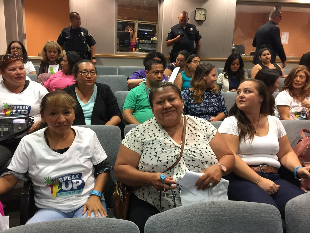 Pacific Blvd. parents Rosa Elena Andresen (front left) and Ada Amaya (front center) were among the Speak UP parents who advocated for a special election and appointee who would listen to parents who have been ignored.