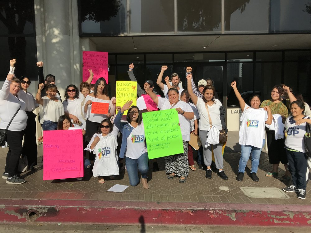 Speak UP parents of kids with special needs testify at a public hearing before the Office of the Independent Monitor Wednesday. Parents say special ed centers need to stay open because of LAUSD's failure to implement inclusive education well for kids with severe needs.