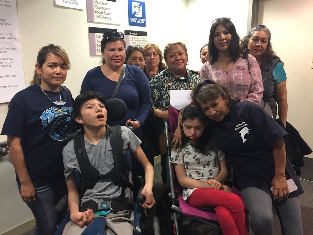 Parents Ada Amaya, Perla Esparza and Rosa Elena Andresen advocate for their kids with severe special needs at an LAUSD Board meeting
