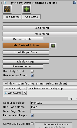 A view of the custom inspector built for Menu Maker. The Main Menu state has two actions (Load Player Data and Display Page). The Display Page action invokes an event to display a page called Main, found in the resource folder Menu2.0.
