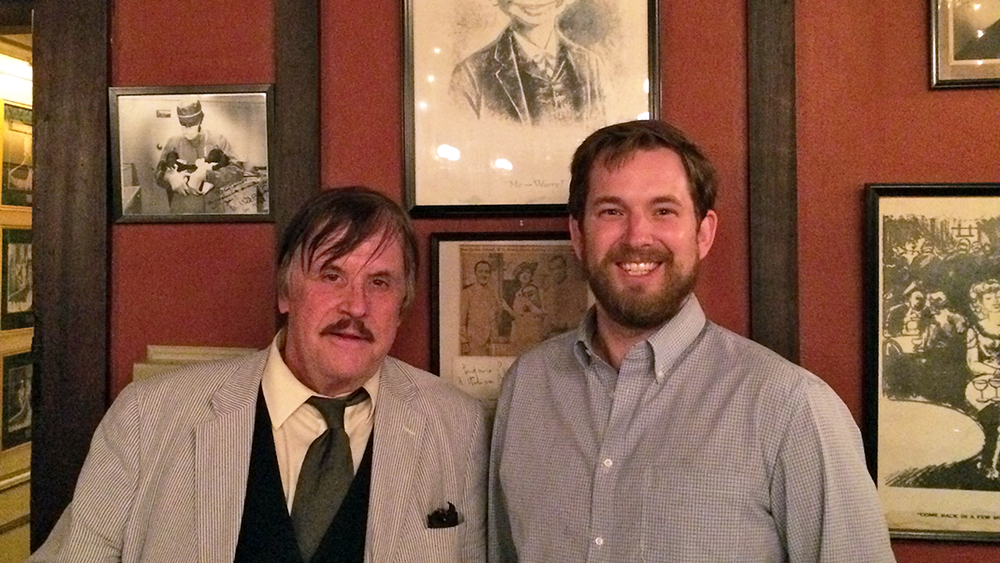 SNL alumnus Patrick Weathers (left) with syndicated columnist Andy Hoglund (right) at Antoine's in New Orleans.