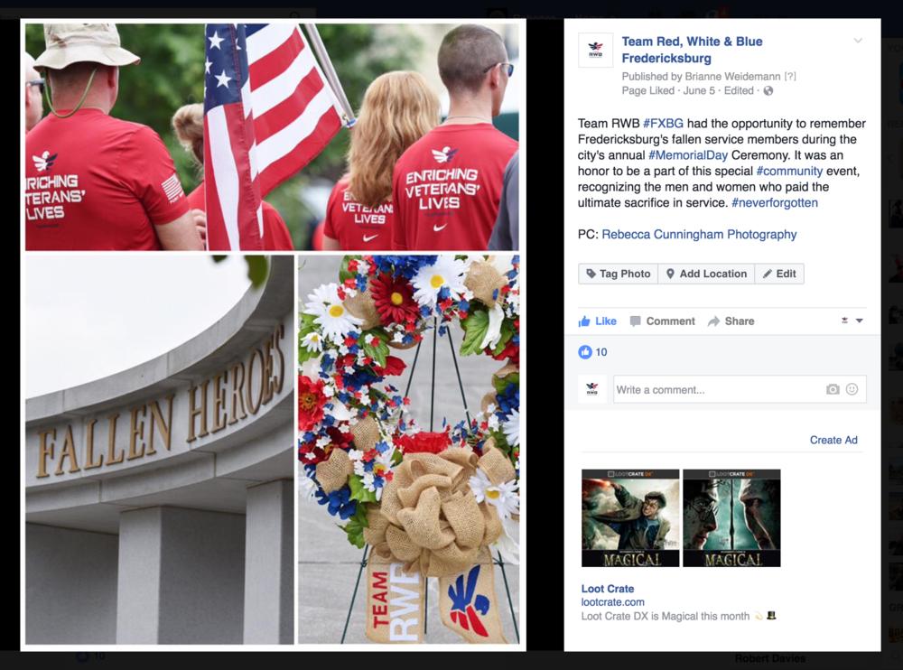 Social Media: Team Red, White & Blue Fredericksburg