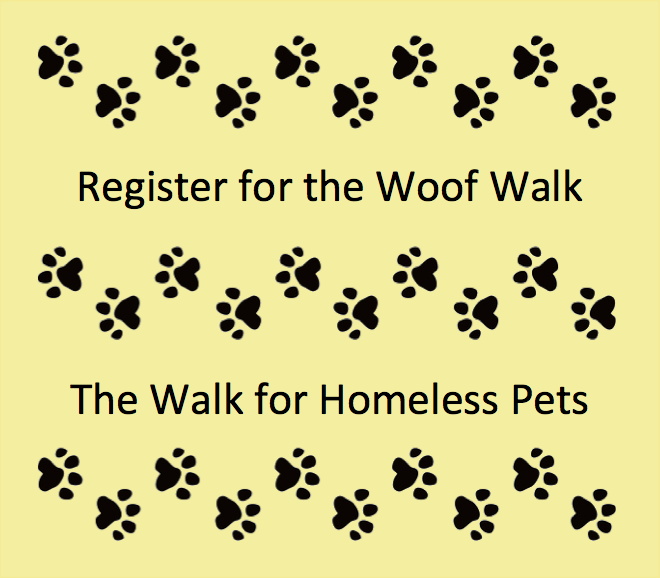 Click to register for the Woof Walk for Homeless Pets