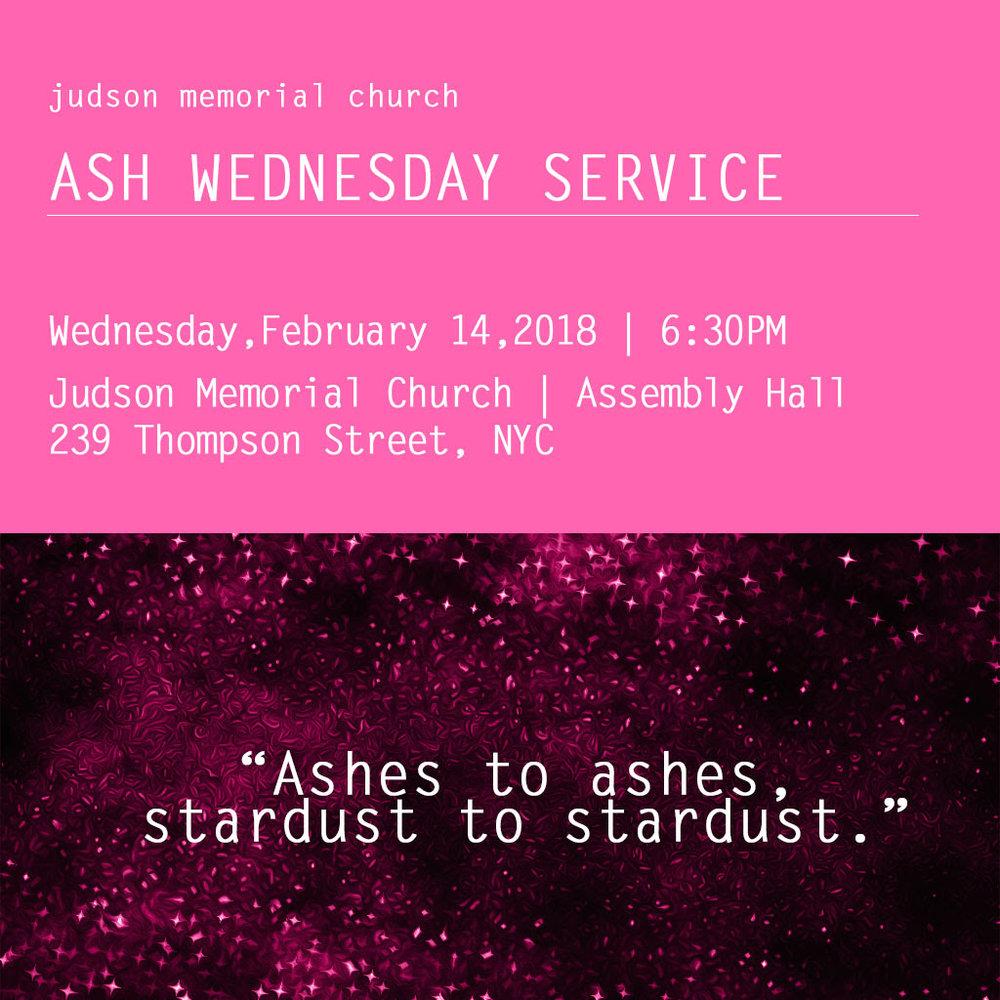 Ash Wednesday Service Judson Memorial Church