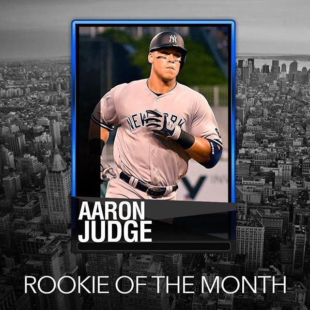 Rookie of the month! @yankees @thejudge44 @mlb #rookieofthemonth #yankees #homerun #makefantasyfunagain #draftrivals #baseball