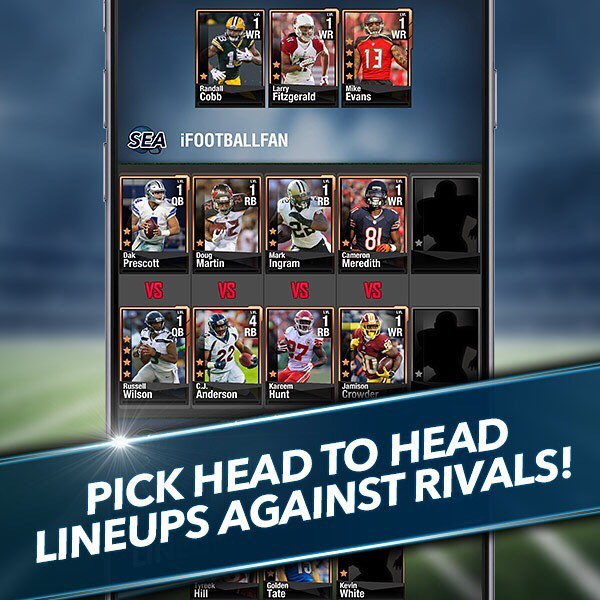 Pick head to head fantasy lineups!! Live on iOS. Download Draft Rivals: Fantasy Football now! Android to follow shortly! #nfl #fantasyfootball #football