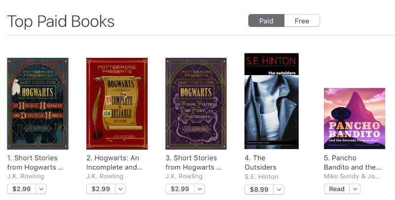 We hit #5 out of all iBooks Kids books.