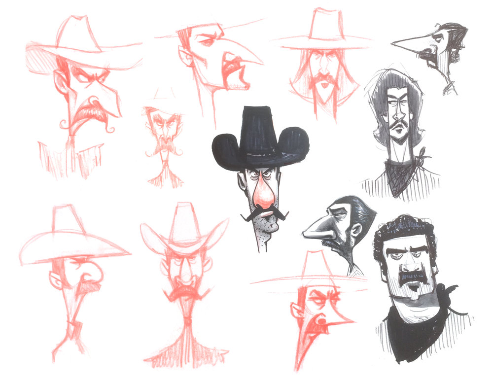 Exploratory character designs for El Pico, drawn while looking at reference photos