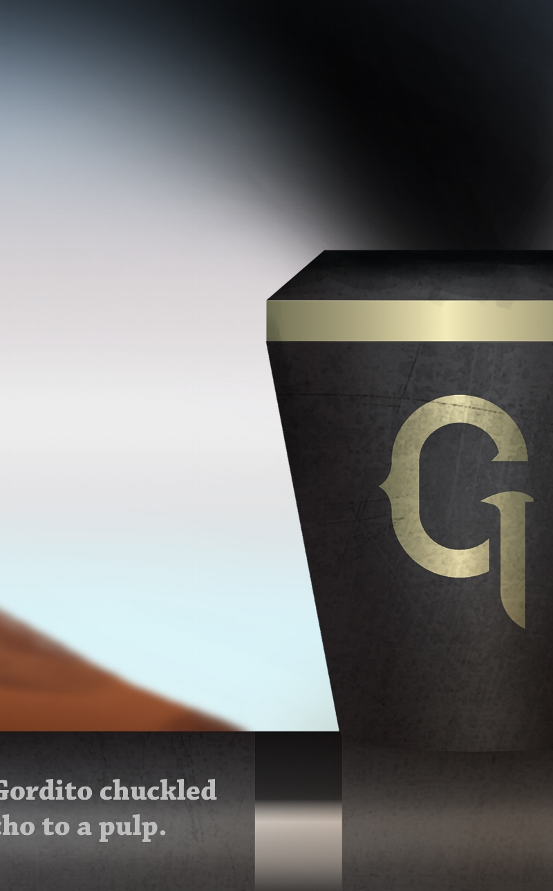 "Close up of the spike in Gordito's ""G"" brand.  Can you find the other golden spikes hidden in the book?"