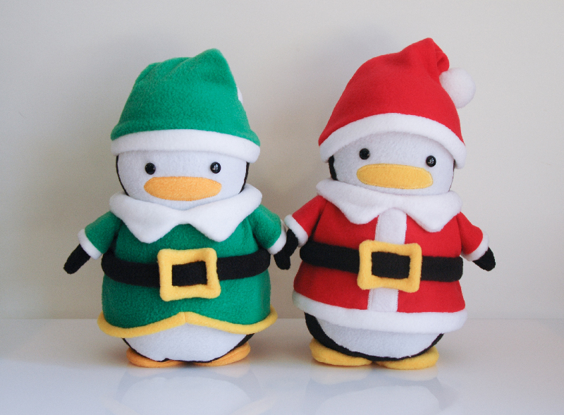 Santa Penguin and Elf Penguin
