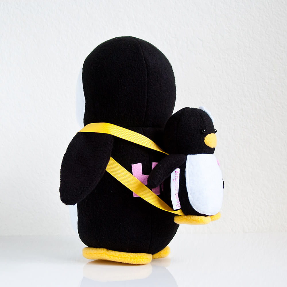 Penguin with Mini Penguin Backpack
