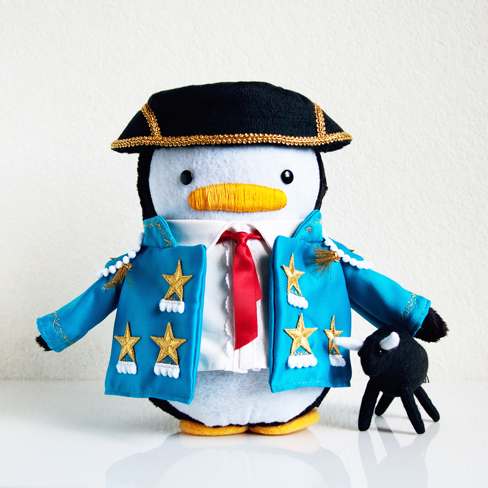 Matador Penguin with Bull Plush