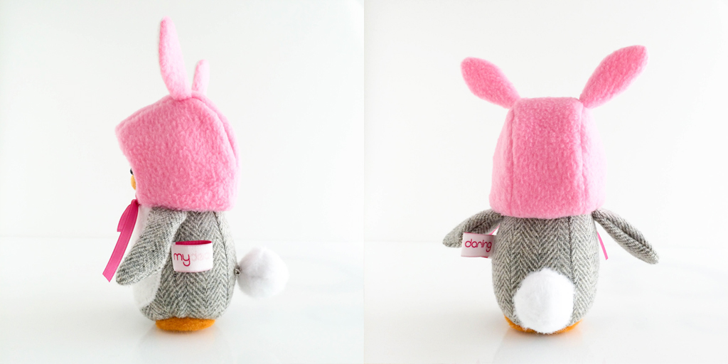 Mini Penguin with Bunny Hat Tail