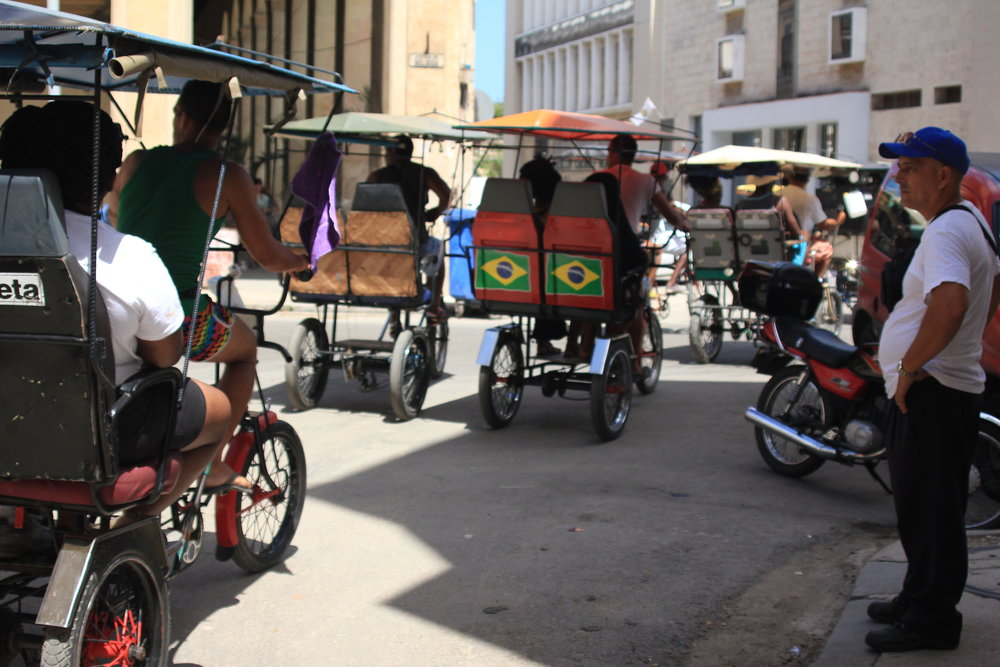 Bici Taxi's are a common way to get around to Cuba but considering how many of us there were, we tended to stop traffic!
