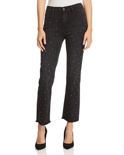 Le High Straight-Leg Embellished Jeans in Jet Stone -