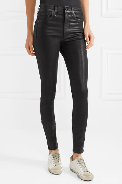 Coated High-Rise Skinny Jeans -