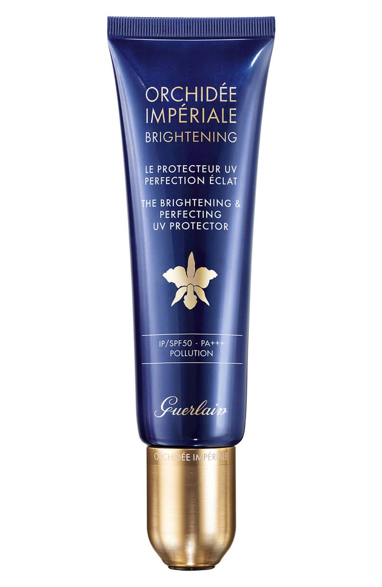 Orchidée Impériale UV Protector - by Guerlain is what you reach for when the damage has already been done. The formula will not only protect you from blue light (and other light pollution) but will brighten any dark spots or hyper-pigmentation when used regularly. This formula also boasts micro-pearls that cause the product to act as an illuminating primer. Just because it's colder out doesn't mean you don't need SPF. This one will keep you glowing.Moringa extract addresses any textural skin issues like acne, scarring, congested pores and fine line. The brand's trademarked Orchid Noble Light Technology includes microRNAs responsible for increasing collagen production and decreasing the melanin production that leads to dark spots from light exposure.