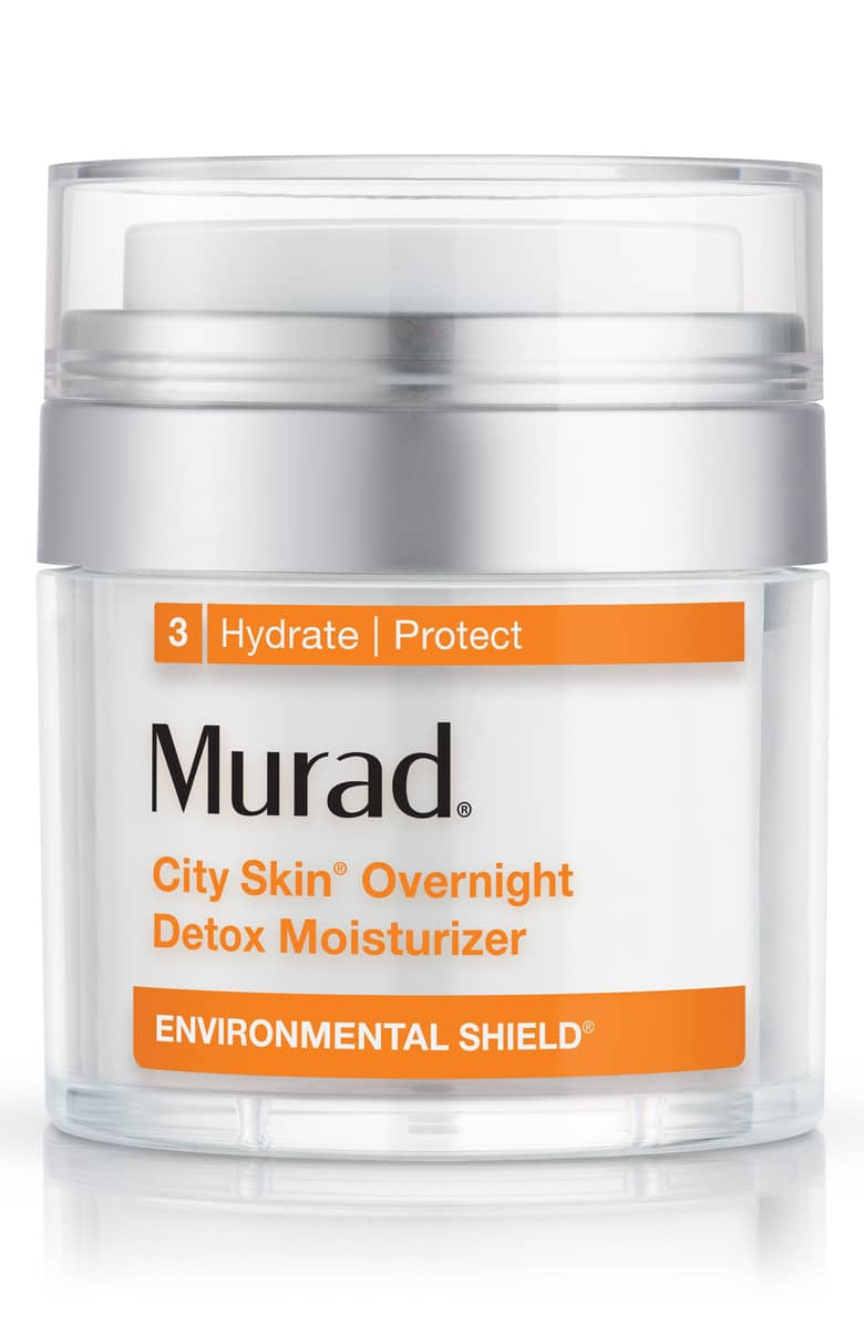 Environmental Shield City Skin® Overnight Detox Moisturizer - by Murad is for someone who lays in bed for hours watching makeup tutorials on her phone (aka us). This is the moisturizer you may want to start using. It's strong formula provides a shield to protect from blue light on the surface while active ingredients penetrate the skin to reverse damage.Vitamin-C brightens any hyperpigmentstion marrubium plant cells fight pollutants and strengthen he skin barrier. Marrubium plant stem cells contribute to adding antioxidants that fight pollution and light damage. Sunflower, cucumber, and barley (read: not gluten-free) give the skin hydration and smooth out fine lines.Better yet, this formula is paraben-free; sulfate-free; phthalate-free.