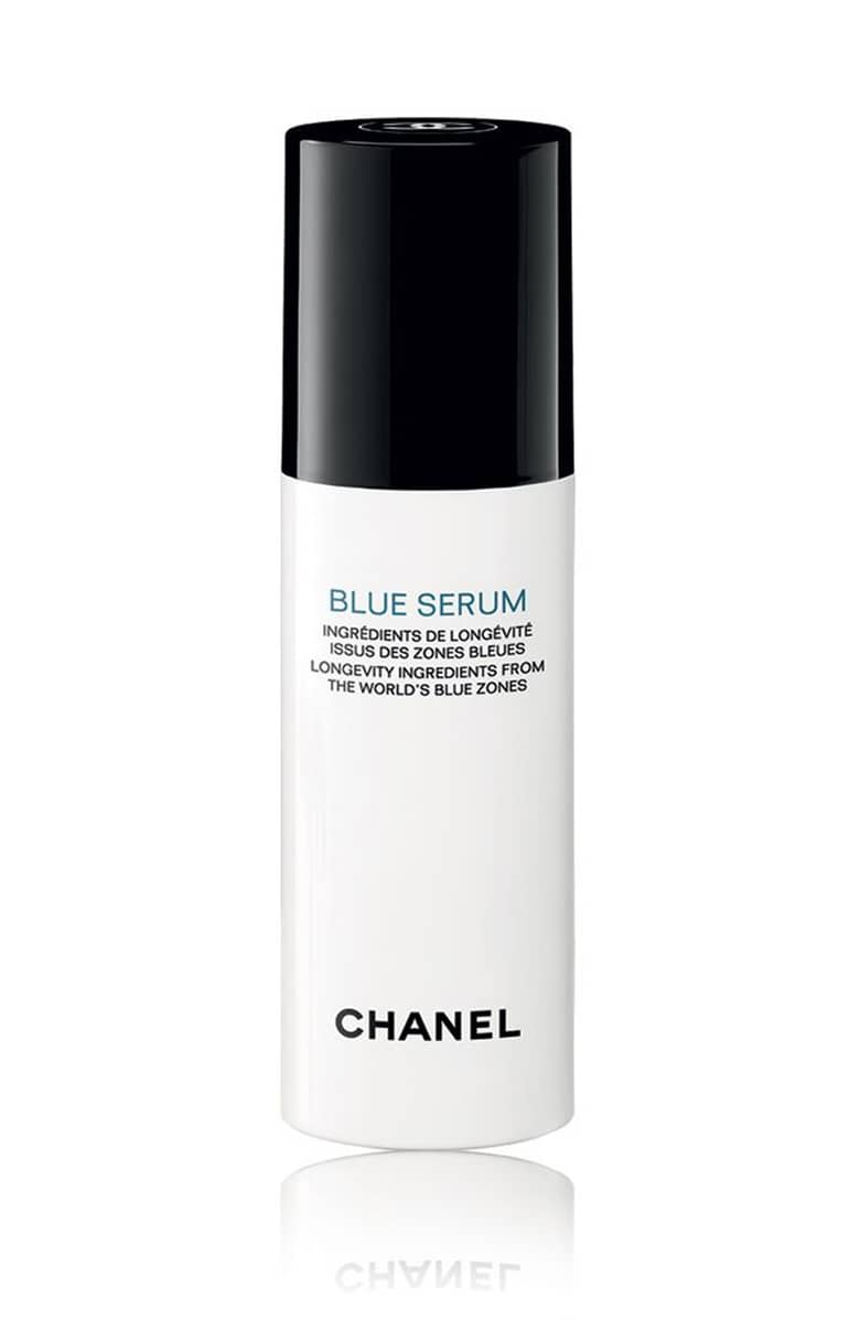 Blue Serum - by Chanel harvests ingredients from Blue Zones all around the world. Such areas of the world are known to have the longest living residents, some upwards of 100 years old.Green coffee from Costa Rica, bosana olives from Sardinia, and lentisk from Greece are brought together to form a healing blend of antioxidants that help regenerative and protect the skin.