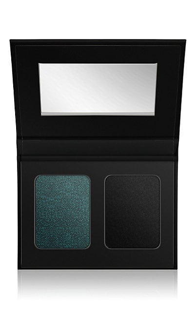 SMOKE - A matte carbon black shadow with an iredescent blue-green shadow to layer over or wear on its own.These shadows will let you add texture to your lids and won't budge until you take it off.