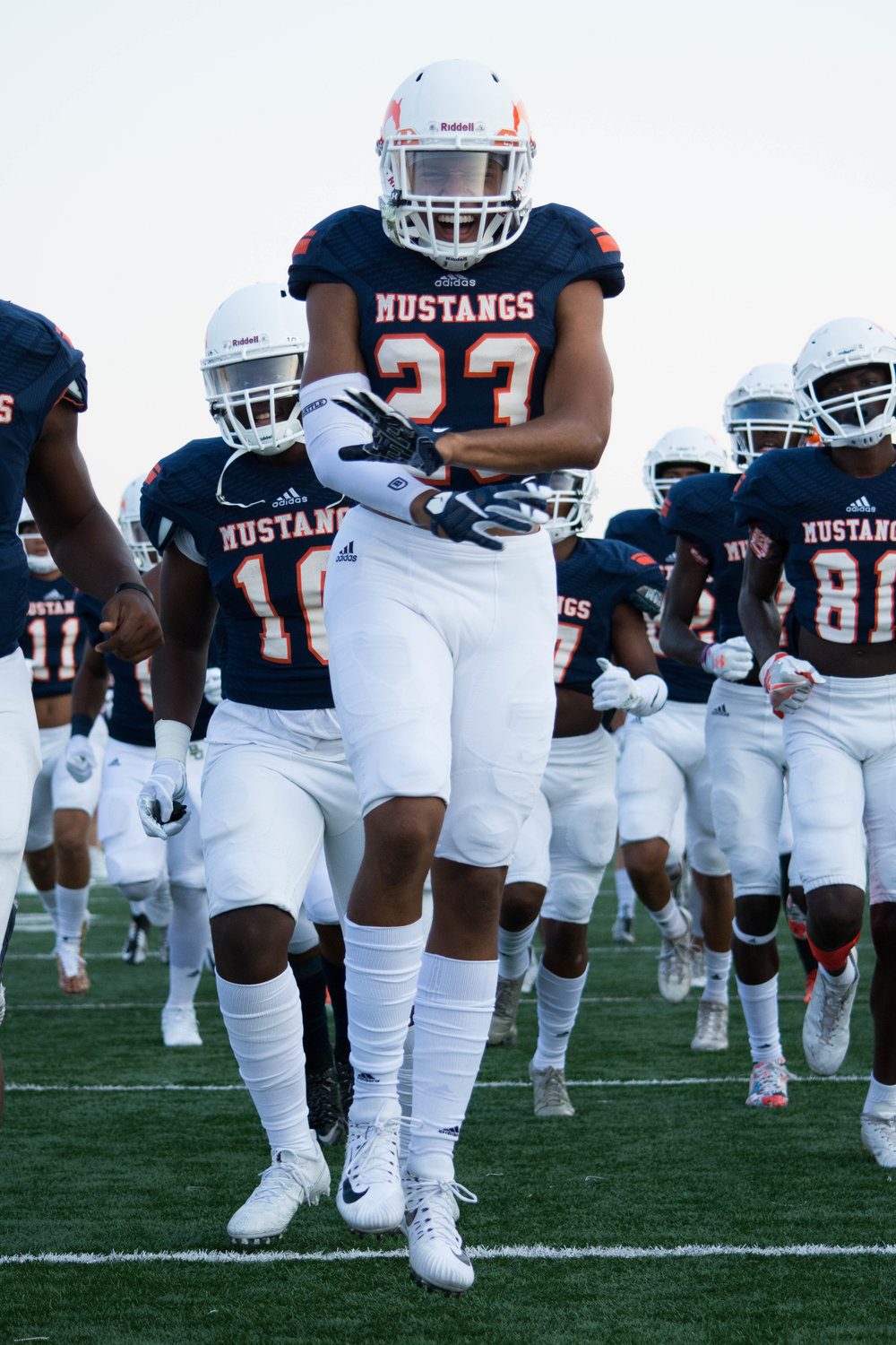Sachse High School and Penn State commit, number 23, Isaiah Humphries runs out of the tunnel.