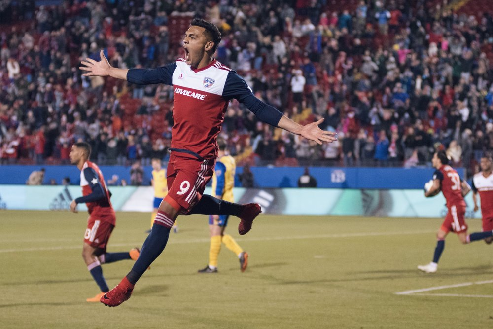 Cristian Colmán of FC Dallas celebrates scoring against Colorado (Also the image that was stolen by the blog) | Shot with Nikon D500 w/ Nikkor 80-200 f2.8