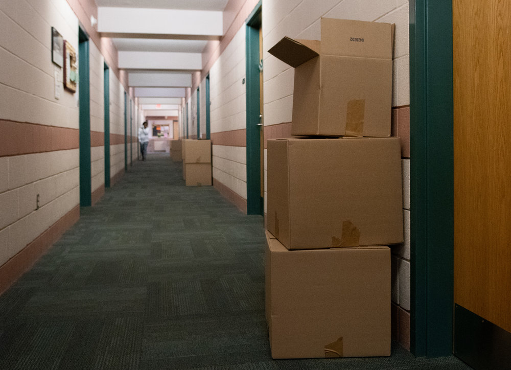 Photo by: Noah Riffe (10/1/2018) - Boxes line the halls of the second floor of Penn State Altoona dorm Cedar Hall on Monday, Oct. 1st, 2018 as an outbreak of mold forces students to move out.