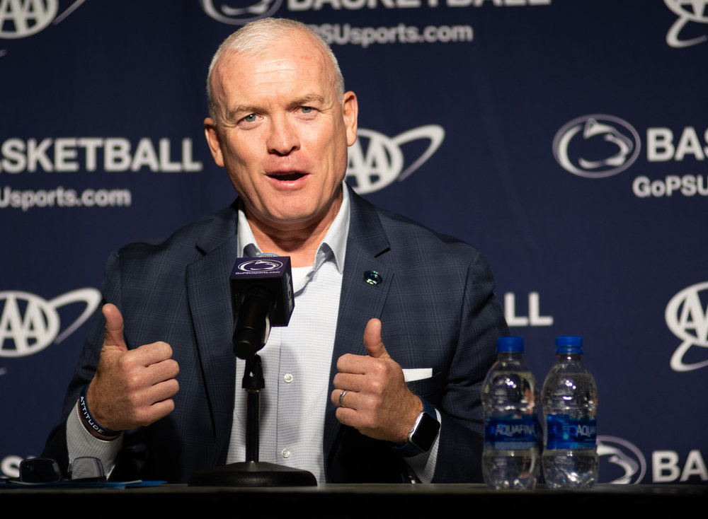 Head coach Patrick Chambers answers questions during Penn State men's basketball media day at the Bryce Jordan Center on Tuesday Oct. 16, 2018. | Photo by: Noah Riffe