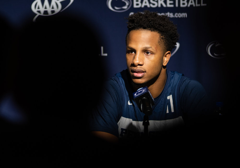 Forward Lamar Stevens (11) answers questions during Penn State men's basketball media day at the Bryce Jordan Center on Tuesday Oct. 16, 2018. | Photo by: Noah Riffe