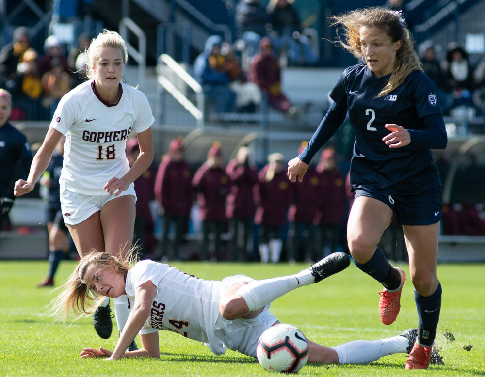 Forward Kerry Abello (2) dribbles during the game against Minnesota at Jeffrey Field on Sunday, Oct. 21, 2018. #21 Penn State defeats Minnesota 2-0. | Photo by: Noah Riffe