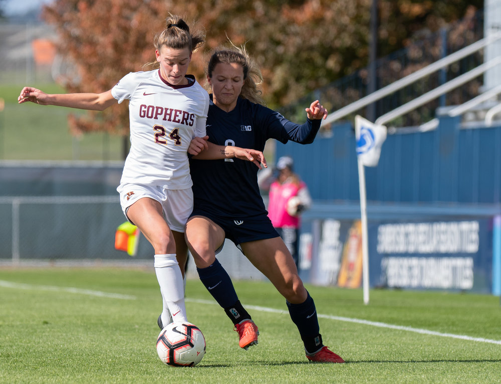 Forward Kerry Abello (2) battles for the ball during the game against Minnesota at Jeffrey Field on Sunday, Oct. 21, 2018. #21 Penn State defeats Minnesota 2-0. | Photo by: Noah Riffe