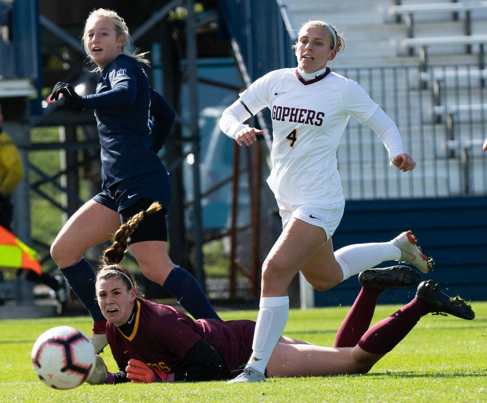 Midfielder Frankie Tagliaferri (19) shoot the ball during the game against Minnesota at Jeffrey Field on Sunday, Oct. 21, 2018. #21 Penn State defeats Minnesota 2-0. | Photo by: Noah Riffe