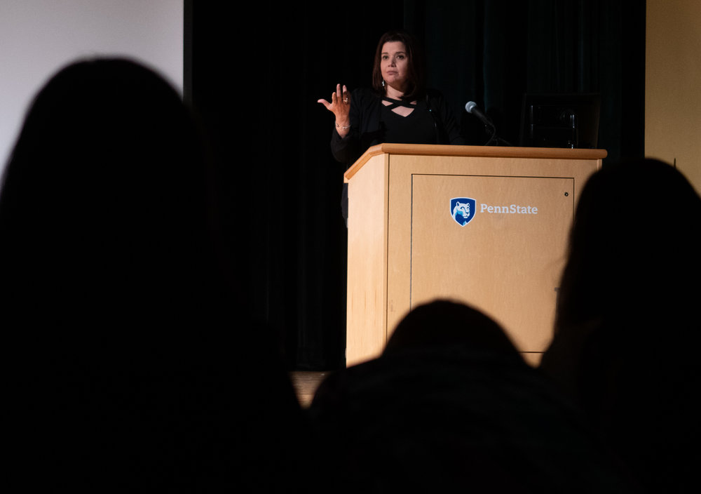 Ana Navarro speaks to students at Heritage Hall on Monday, Oct. 22, 2018.
