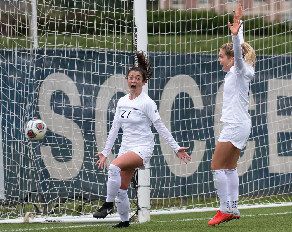 Midfielder Marissa Sheva (27) celebrates a goal during the Big Ten tournament quarterfinal game against Michigan at Jeffrey Field on Sunday, Oct. 28, 2018. The Nittany Lions defeat Michigan 1-0 and advance to the semifinals of the Big Ten tournament. | Photo by: Noah Riffe