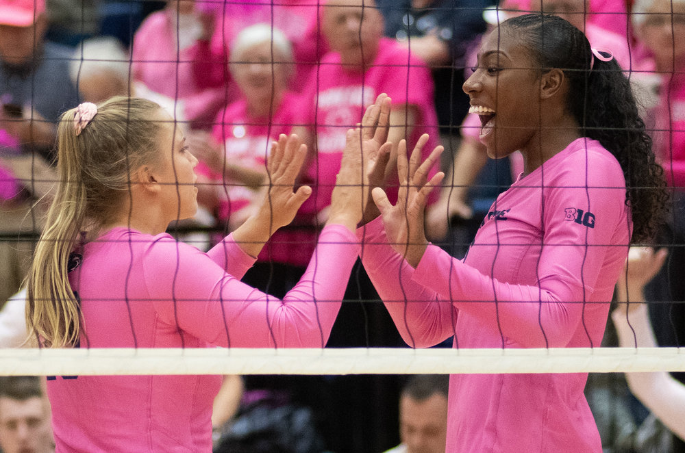 Outside hitter Nia Reed (6) celebrates scoring during the game against Indiana at Rec Hall on Friday, Oct. 26, 2018. The Nittany Lions defeat Indiana in 3 sets. | Photo by: Noah Riffe