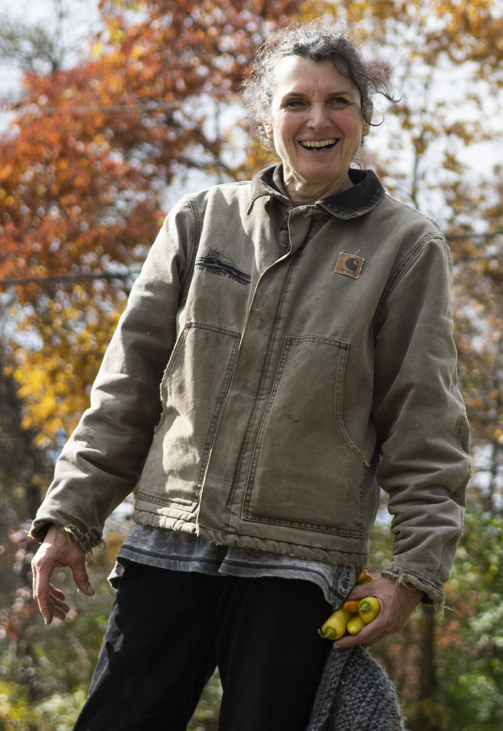 Renee Kredell, farm owner, jokes with students during the Crop Mob event at The Barn on Valley View Road in Bellefonte on Nov. 3, 2018. | Photo by: Noah Riffe