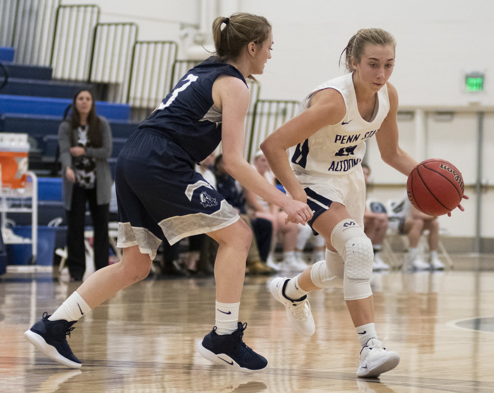 Jessica Stevens (24) dribbles during their game against Mount Aloysius College at Adler Arena on Wednesday, Nov. 28, 2018. | Photo by: Noah Riffe