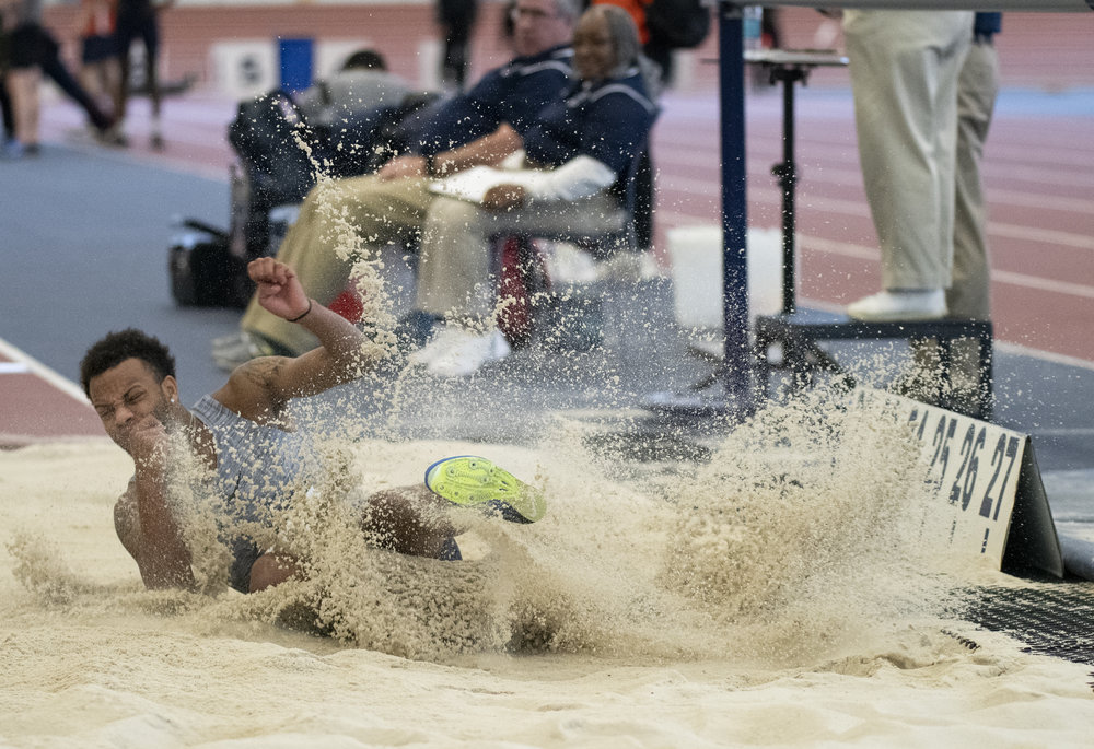 Long jumper Malik Moffett jumps during the Nittany Lion Challenge at the Horace Ashenfelter III Indoor Track on Saturday, Jan. 12, 2019. - Photo by: Noah Riffe