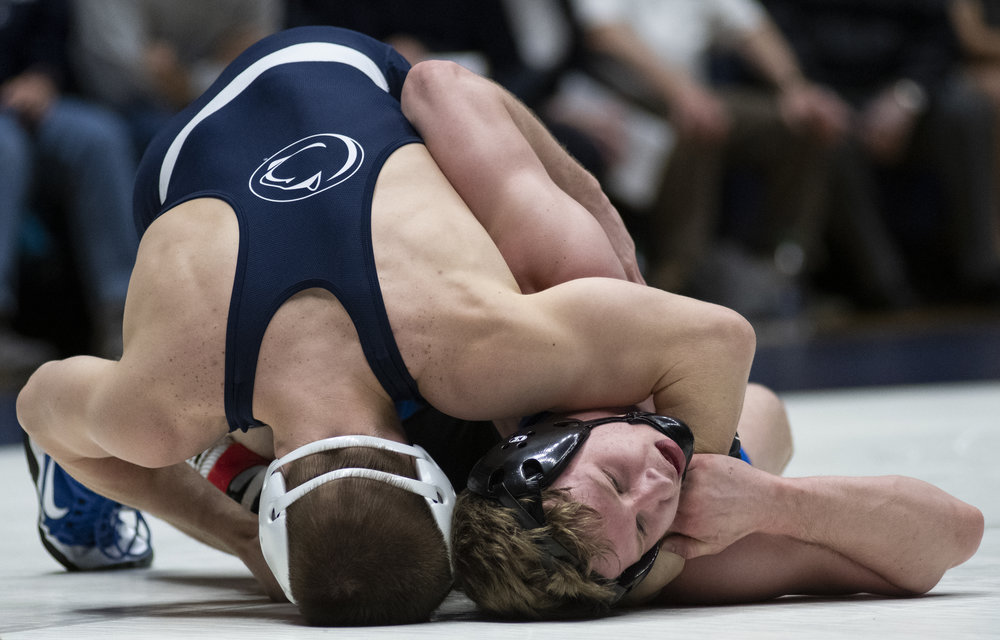 Jason Nolf pins Kyle Todrank during the wrestling match against Buffalo at Rec Hall, Sunday, Feb. 24, 2019. On Senior Day, Penn State defeat Buffalo 47-3. | Photo by: Noah Riffe