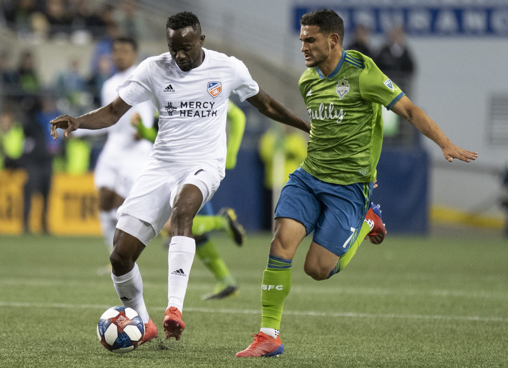 Midfielder Roland Lamah (7) dribbles the ball during their game on Saturday, Mar. 2, 2019 at CenturyLink Field in Seattle, Washington. | Photo by: Noah Riffe