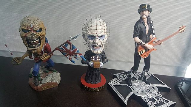 When you are needing a little extra motivation through the day it's best to put some friends in front of you to cheer you on. Fuck Mondays. #pinhead #lemmykilmister #eddie #ironmaiden #fuckmondays #metal