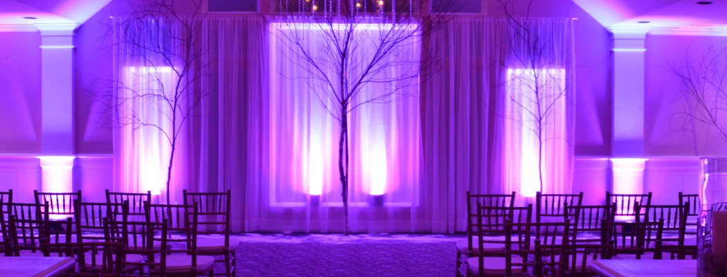 LED Uplighting - available in a variety of color choices to tie into your color scheme for your event. Pair with our Orlando DJ and lighting services!