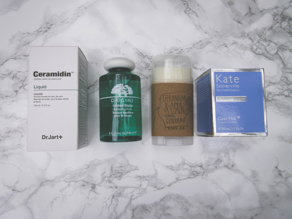 Dr. Jart Ceramidin serum, Origins toner, Bohdi Basics  deodorant  (organic, aluminum & GMO free, handmade deodorant that actually works. SO GOOD), Kate Somerville Goat Milk face cream.