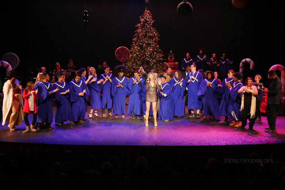 "Most of the company joined Tracy Miller on stage for the finale, ""All I Want for Christmas is You""."