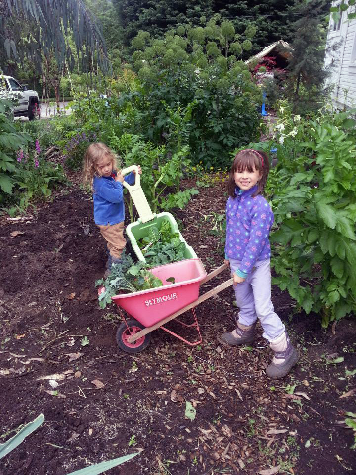 Future gardeners of America. Or at least of Green Heron. Sean's kids hard at work on the home veggie beds.
