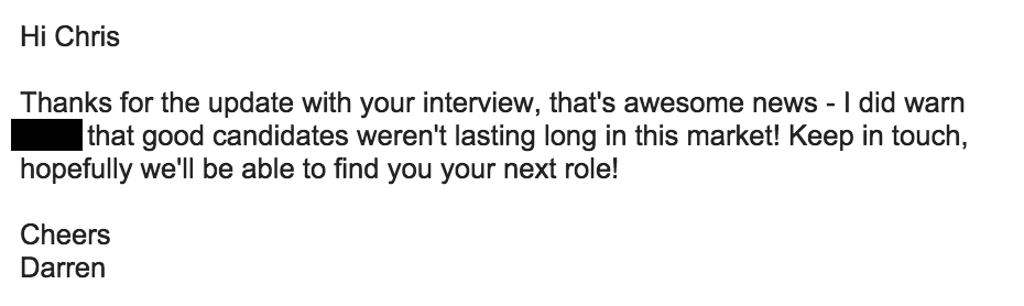 A reply from a recruiter