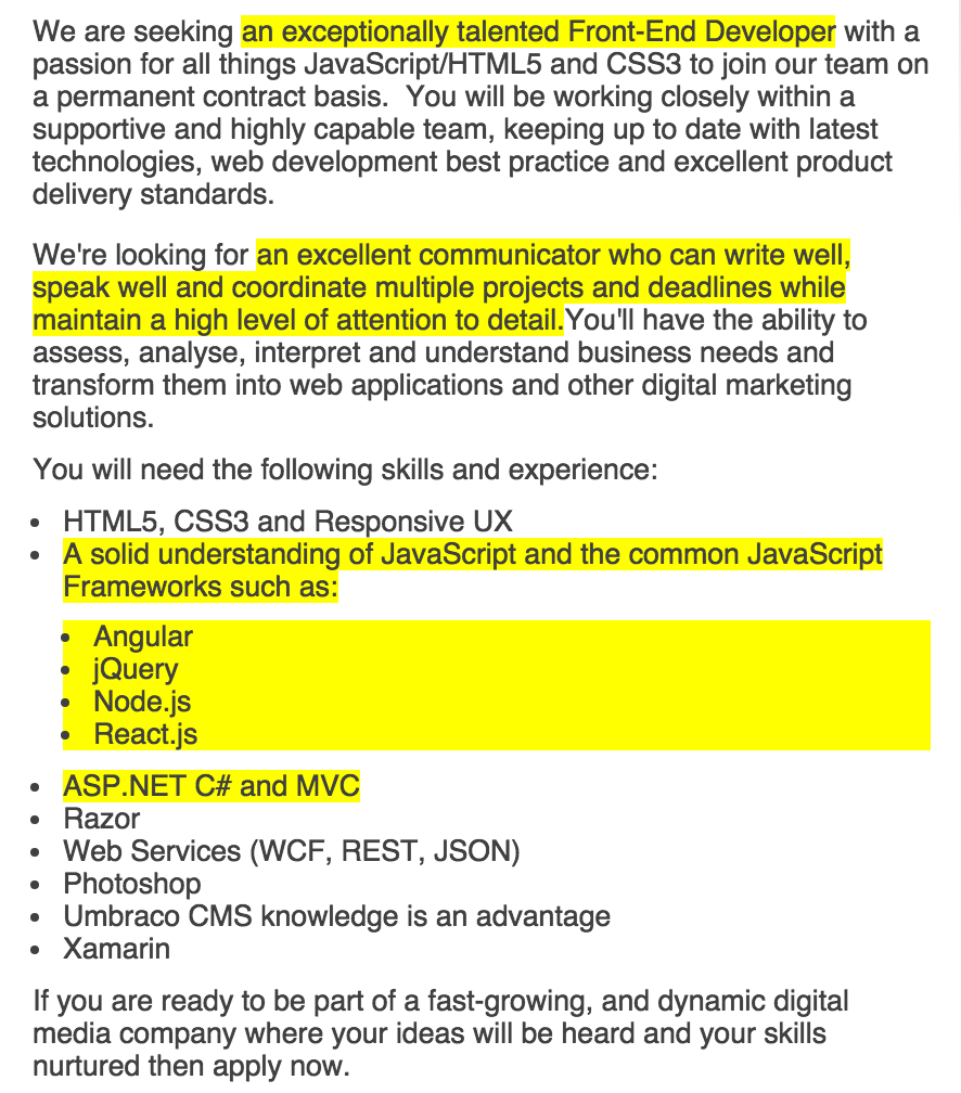 An exert for a  job ad that I was referred to on Seek.com.au