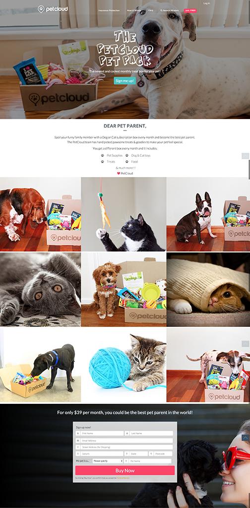 PetCloud PetPack - Landing Page